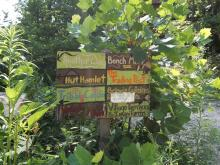 directional signs at Earthaven Ecovillage